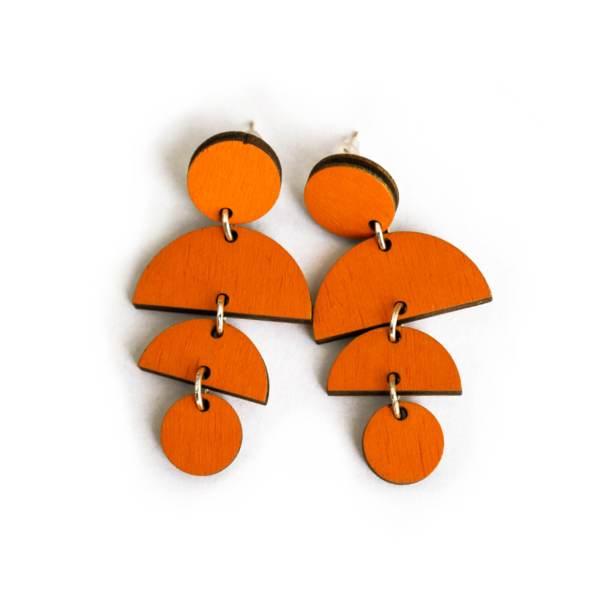 Lasercut oorbellen oranje