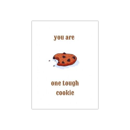 leuke ansichtkaart Tough Cookie steekt een hart onder de riem