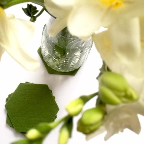 ook leuk onder vaas of bloempot, zo'n prachtige vilten onderzetter hexagon