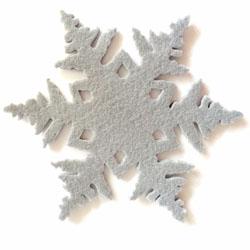 vilten onderzetters sneeuw in de vorm van een sneeuwvlok