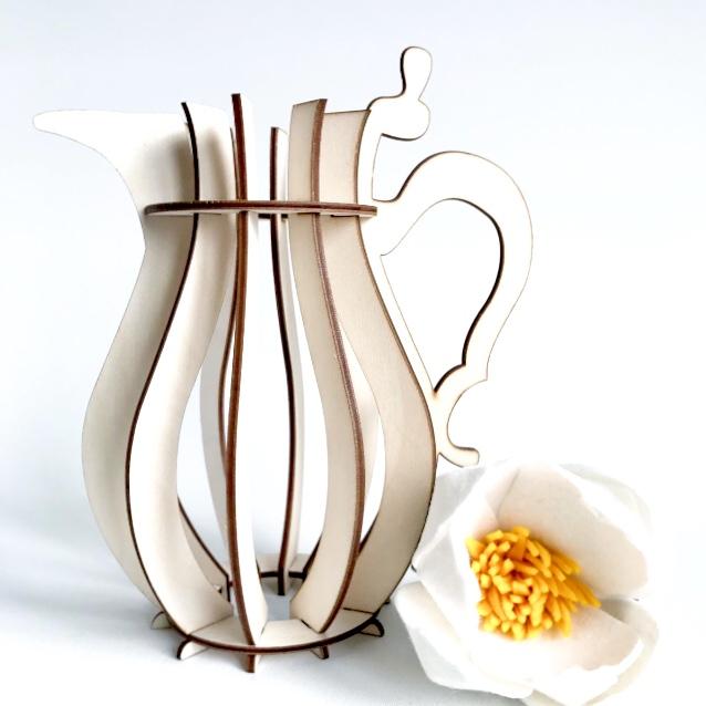bloemen vaas van hout H3