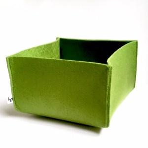 fijne opbergmand van groen vilt - handgemaakt en wasbaar