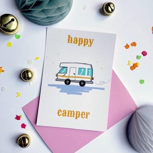 happy camper originele kaart van houtmoed