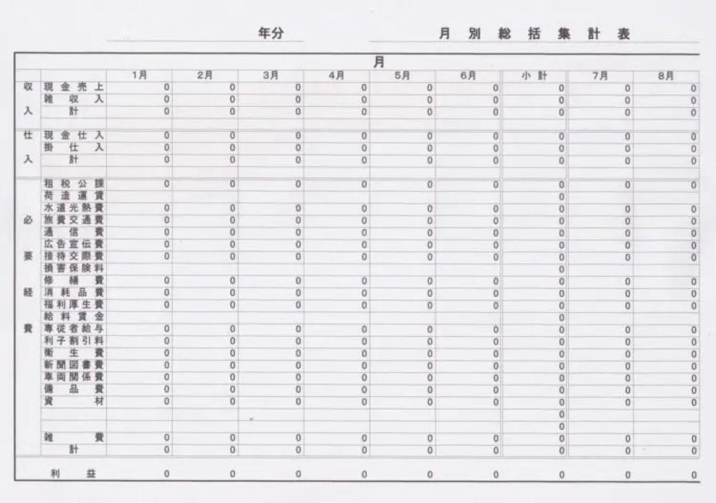 月別総括集計表1