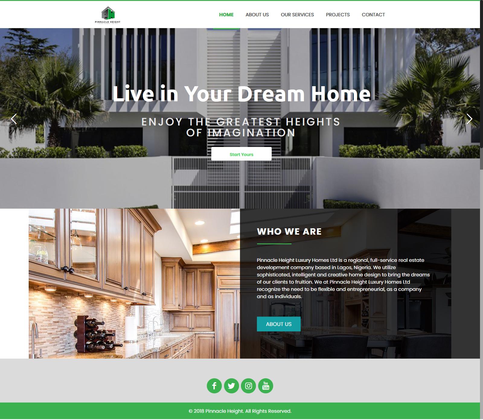 Pinnacle Height Homes   Website design Nigeria