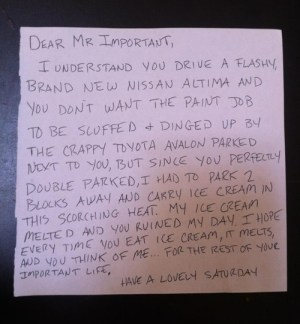 Icecream parking note