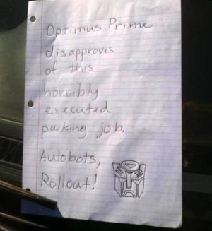 Optimus Prime windshield note