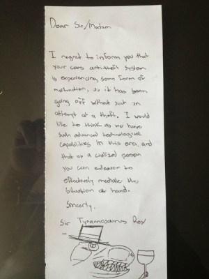 Sir Tyrannosaurus Rex windshield note