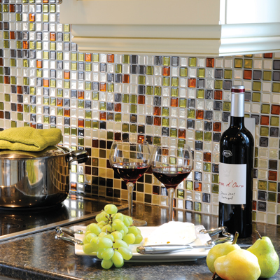 . 3D gel-like tiles that are peel and stick for an easy back splash. Easy to cle