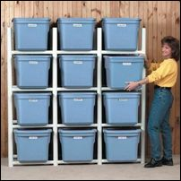 Build a PVC frame for plastic storage bins! No need for unstacking your bins whe