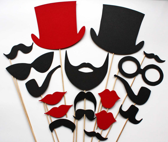 Photo Booth Props  18 Piece  Red and Black by BeBopProps