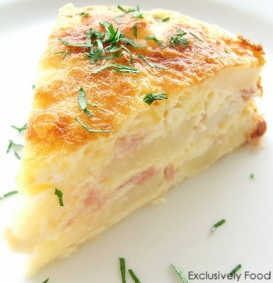 Sunday Brunch – Ham, Egg and Potato Bake with Cheddar and Parmesan..
