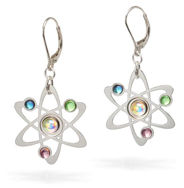 AWESOME! ThinkGeek :: Rutherford-Bohr Model Atom Earrings