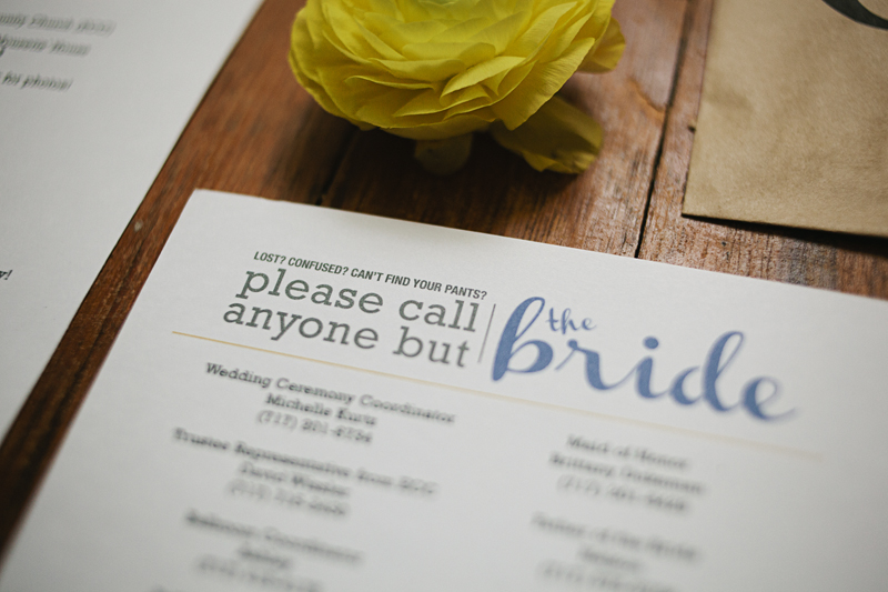 Lost? Confused? Can't find your pants? Please call anyone but the bride… c