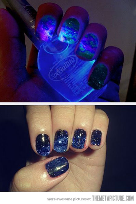 glow in the dark galaxy nails we know how to do it