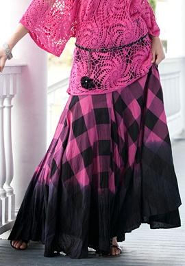Plaid Ombre Print Skirt