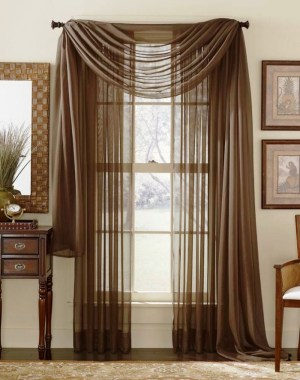 Brown Themed French Door Curtains