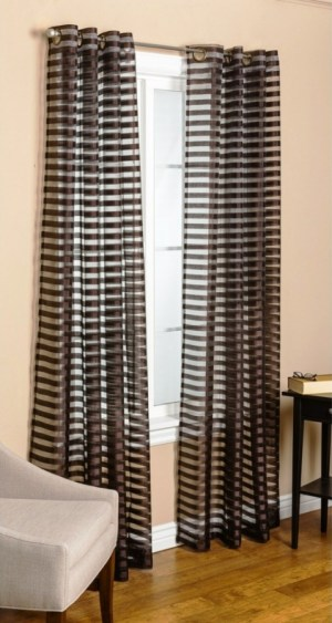 Captivating Sheer Horizontal Black And White Striped Curtains In White Living Room