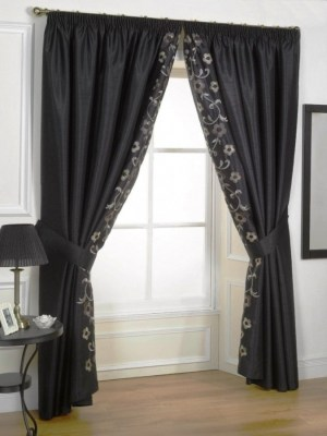 Contemporary Curtain Tie Backs With Black Color And Floral Motif