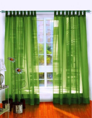 Cool Green Sheer Curtains in White Wooden Window with Laminated Wooden Floor