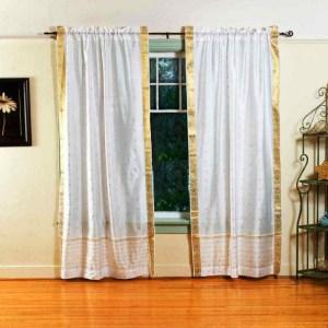Pair White India Sari Sheer Curtain