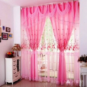 Pink Lace Romantic Sheer Curtain