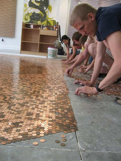 DIY penny flooring $1.44 a square foot