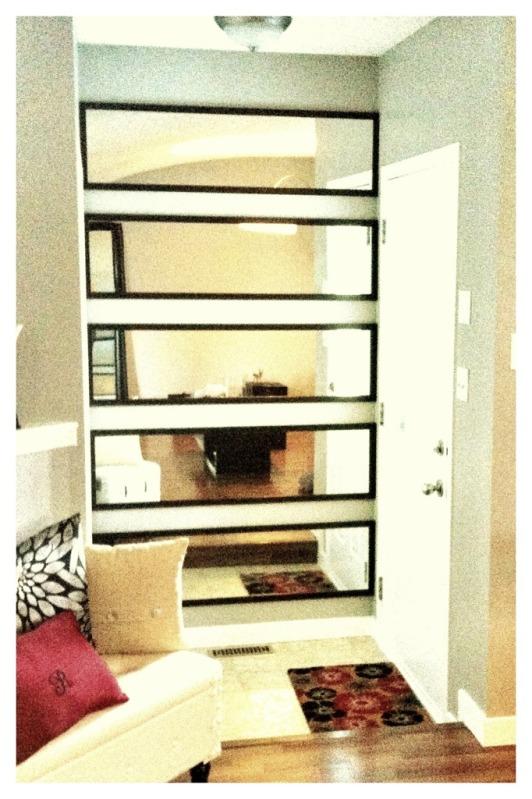 stacked horizontal mirrors.