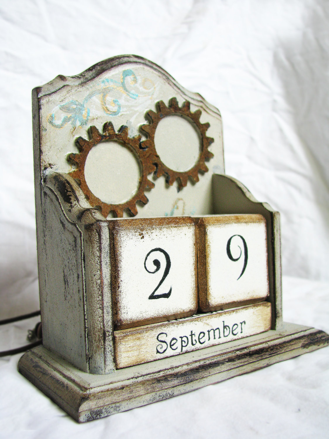 Steampunk gothic victorian vintage wooden perpetual calendar. Just slap some gea