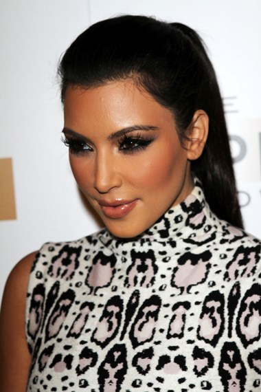 Kim Kardashians sleek ponytail