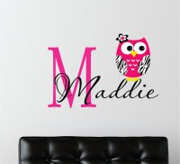 Childrens Decor Zebra Owl Wall Decal with Name  Baby ...