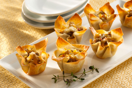 wonton cheese and sausage appitizers