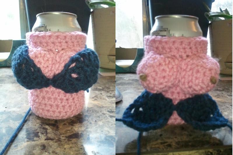 Free Crochet boob can cozy Pattern. Funny :  @Nancy Edwards