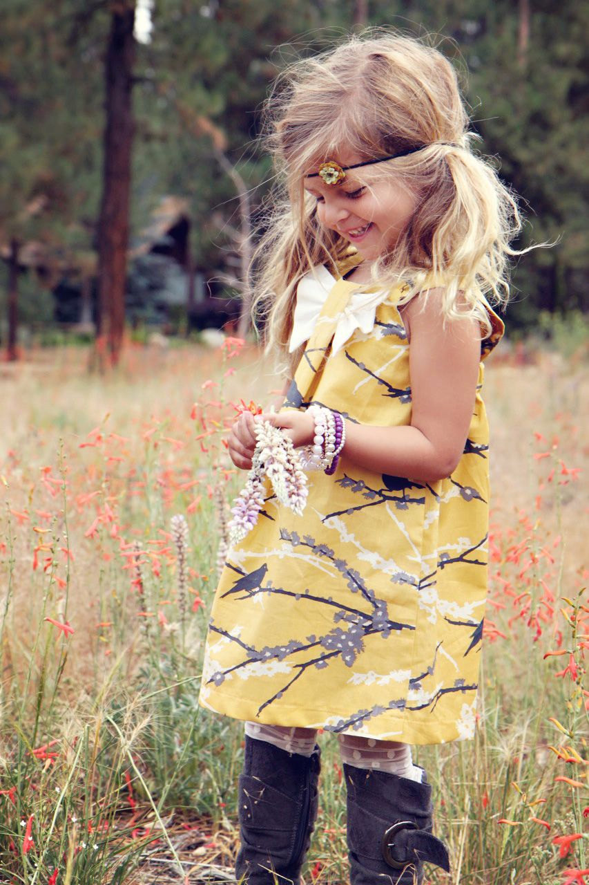 Fall Vintage Yellow Sparrow Dress.