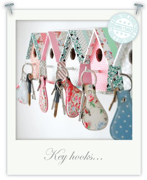 Bird house key hooks