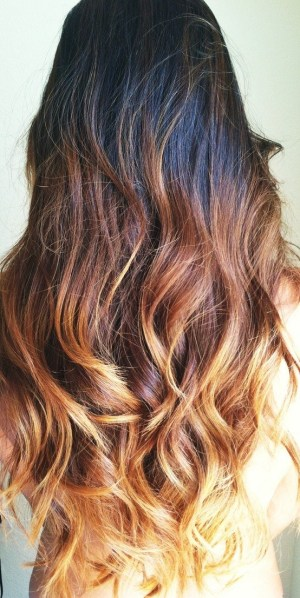 dark brown hair with ombre
