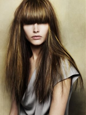 dark brown hair with golden highlights