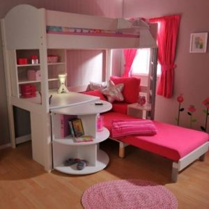 stylish bunk beds in pink