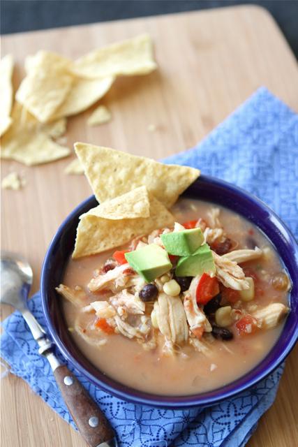 Crockpot Chicken Tortilla Soup Recipe with Black Beans & Corn by CookinCanuc
