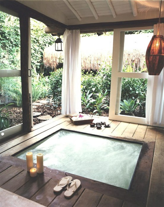 covered backyard hot tub