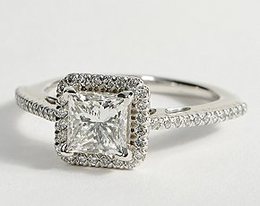 Princess Cut Halo Diamond Engagement Ring in 18K White Gold #BlueNile #Engagemen