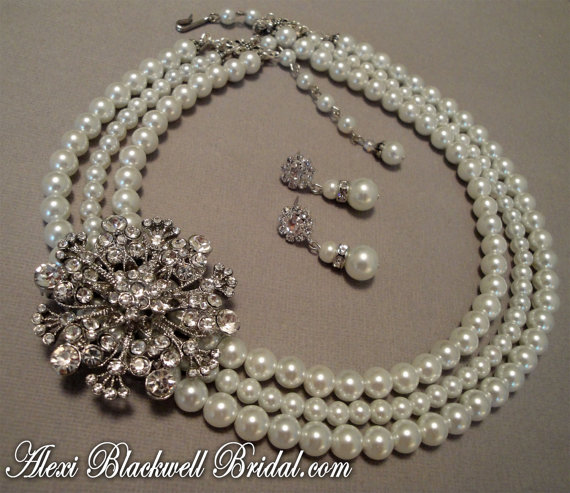 Bridal Pearl Necklace Set with Rhinestone Brooch embellishment 3 strands of whit