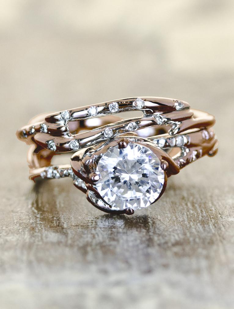 Daya – rose gold – unique engagement ring bridal set by ken + dana design   Omg