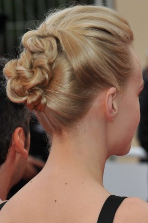 knotted messy bun hairstyle