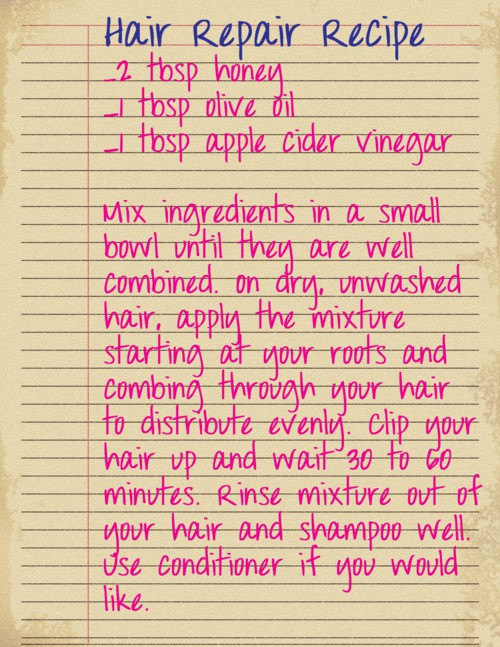 DIY Natural Hair Repair Recipe w/ Honey and Olive Oil. I think I need to try thi