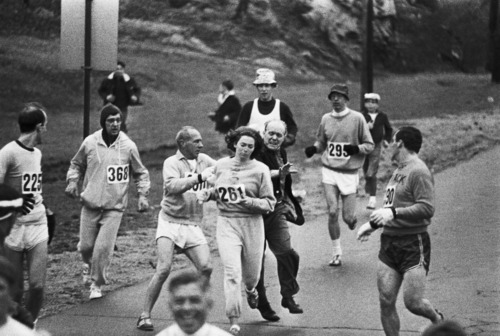 In 1967, Kathrine Switzer was the first woman to run the Boston marathon. After