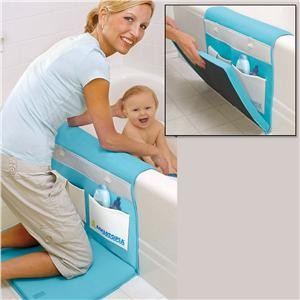 Bath organizer with padding for knees and elbows…Make your own. Good idea for