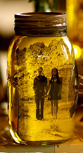 Put a picture into a mason jar and add olive oil… what a way to incorporate pi