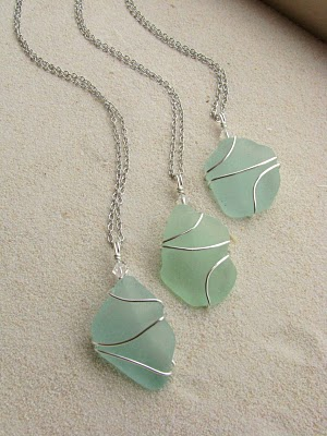 For a Little Mermaid wedding….wire wrapped sea glass for bridesmaids