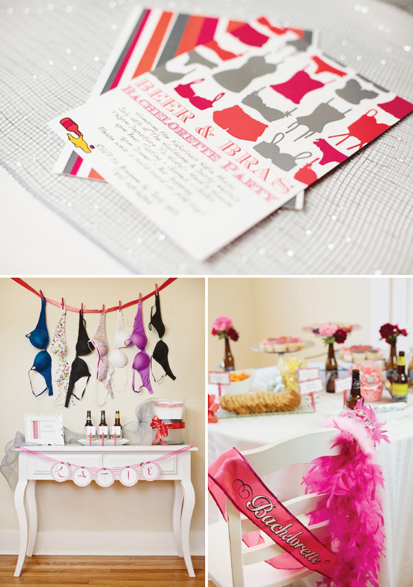 Aubrey of Bride Meets Wedding crafted this fabulous Beer & Bra Bachelorette